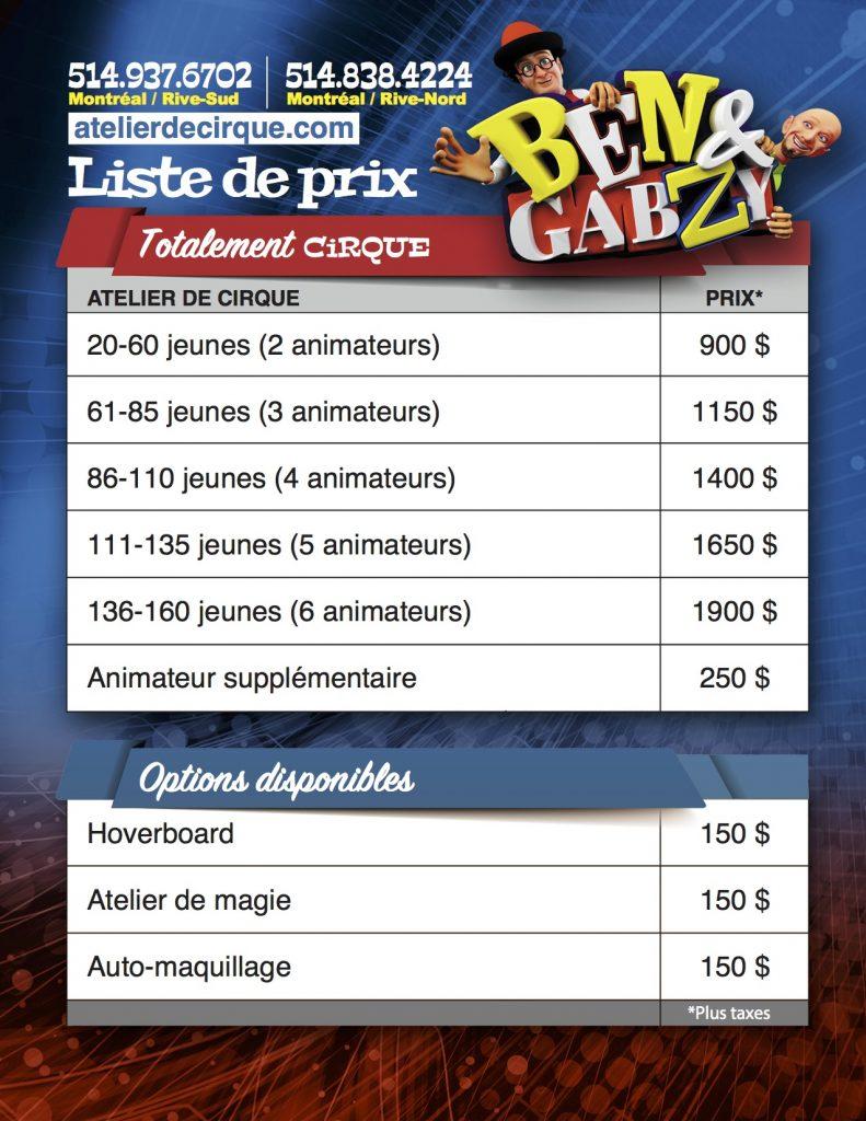 Liste de prix totalement cirque - ateliers Ben et Gabzy